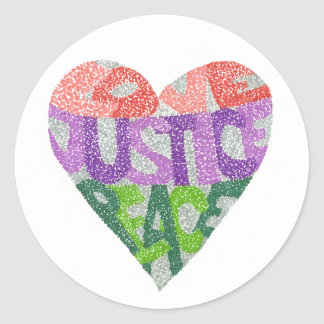 Love, Justice, Peace - Round Stickers