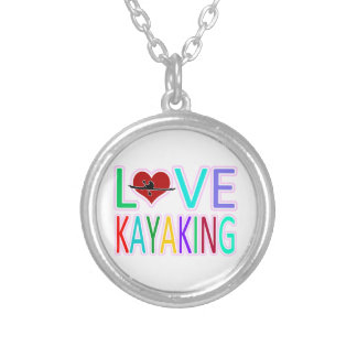 Love Kayaking Round Pendant Necklace