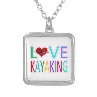 Love Kayaking Square Pendant Necklace