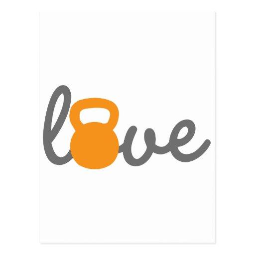 Love Kettlebell Orange Postcards