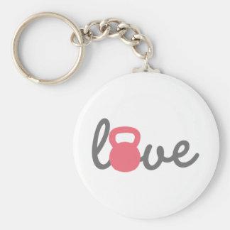 Love Kettlebell Pink Key Ring