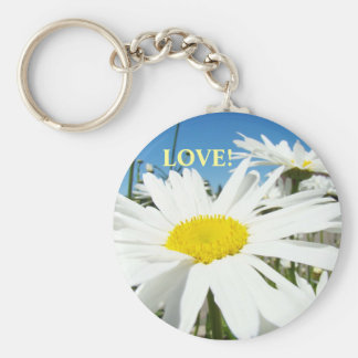 LOVE! keychain White Daisy Flowers Blue Sky Floral