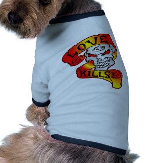 Love Kills Skull Tattoo Pet Shirt