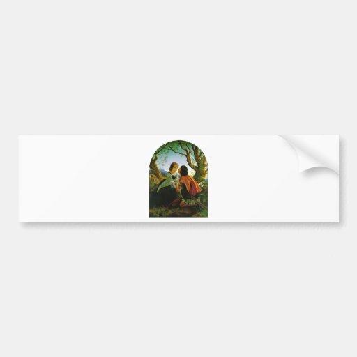 Love kiss romantic couple medieval sword Hesperus Bumper Sticker