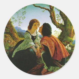 Love kiss romantic couple medieval sword Hesperus Round Sticker