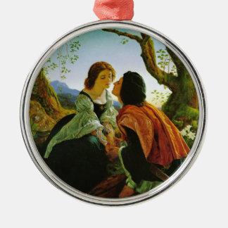 Love kiss romantic couple medieval sword Hesperus Silver-Colored Round Decoration
