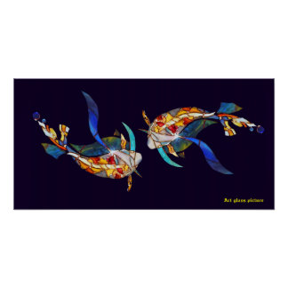 Love Kissing Koi fish Wedding Posters horizontal