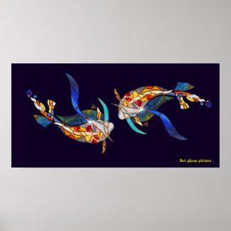 Love Kissing Koi fish Wedding Posters horizontal