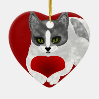 Love kitty christmas ornament