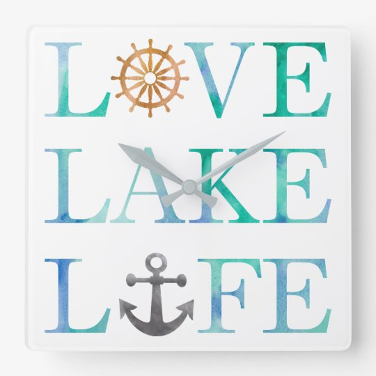 Love Lake Life Nautical Typography Watercolor Square Wall
