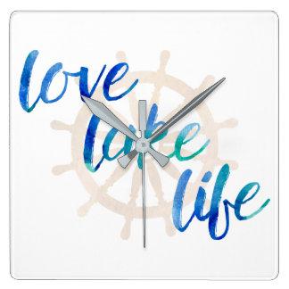 Love Lake Life Nautical Typography Watercolor Wall Clock