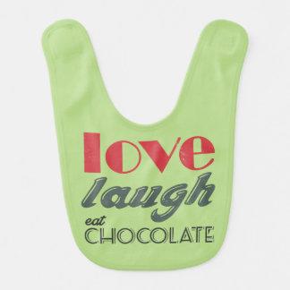 Love, laugh, eat chocolate! baby bib