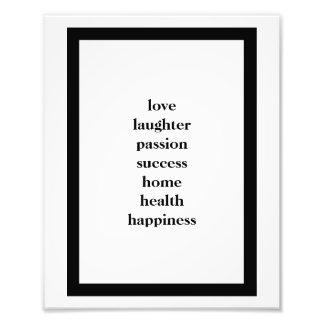 Love Laughter Passion Success Wall Poster Photograph