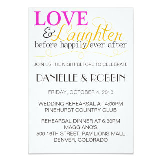 Love & Laughter Rehearsal Invitation