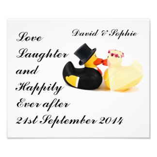 Love Laughter Wedding Ducks Photographic Print