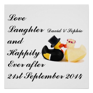 Love Laughter Wedding Ducks Poster