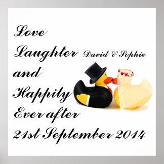 Love Laughter Wedding Ducks Poster