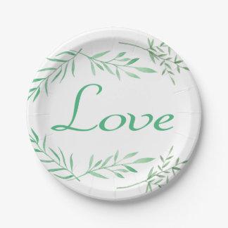 Love Laurel Leaf Green Watercolor Leaves Wedding Paper Plate