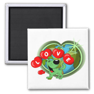 Love (Leaf - Earth Day) Square Magnet