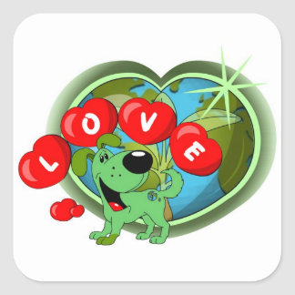 Love (Leaf - Earth Day) Square Sticker