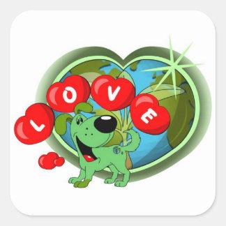 Love (Leaf - Earth Day) Square Sticker