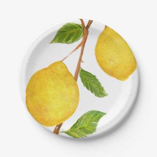 Love Lemons Watercolor Paper Plates 7 Inch Paper Plate