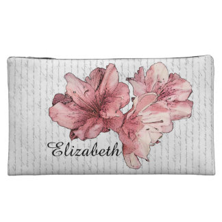 Love Letter Pink Illustrated Flower Customize Name Cosmetic Bags