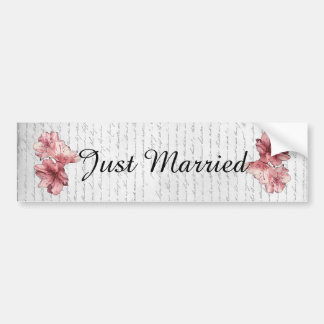 Love Letter Pink Illustrated Flower Customize Name Bumper Sticker