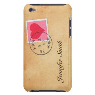 Love letter with heart postage stamp iPod case Barely There iPod Cases