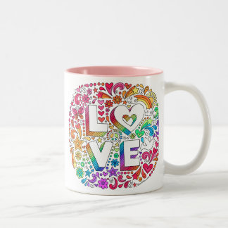 LOVE Lettering Groovy Rainbow Doodles Mug ♥