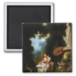 Love Letters by Jean Honore Fragonard Square Magnet