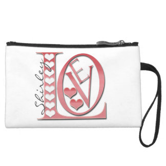 Love Letters with Hearts by Shirley Taylor Suede Wristlet