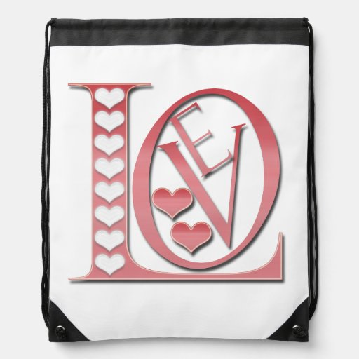 Love Letters With Hearts Drawstring Backpacks