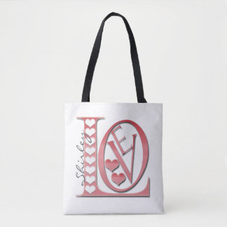 Love Letters With Hearts Tote Bag