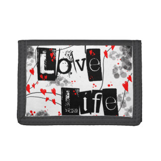 Love Life black,red,hearts,dots text purse Tri-fold Wallet