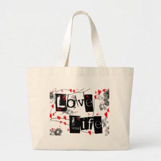 Love Life black,red,hearts,dots text totes bag