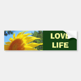 LOVE LIFE bumper stickers Bright Yellow Sunflower