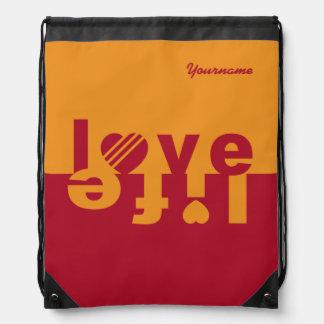 Love / Life custom bag Drawstring Backpacks