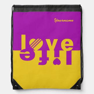 Love / Life custom bag Drawstring Bags