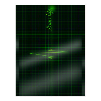 Love life electrocardiagram postcard