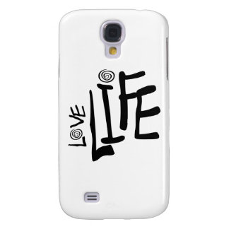 Love Life In Funky Font With Swirls, Black Galaxy S4 Case