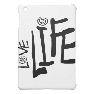 Love Life In Funky Font With Swirls, Black iPad Mini Cases