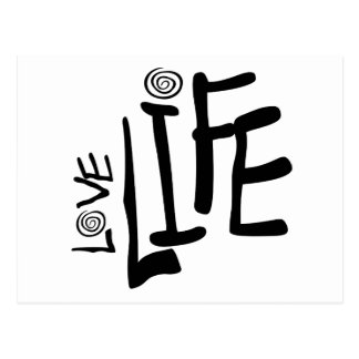 Love Life In Funky Font With Swirls, Black Postcard