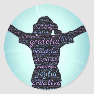 Love Life: Inspiration...Gratitude...Joy Classic Round Sticker
