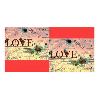 Love, life, peace, hope, graphics background notes customized photo card
