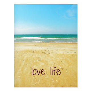 Love Life Quote with Beach Scene Postcard