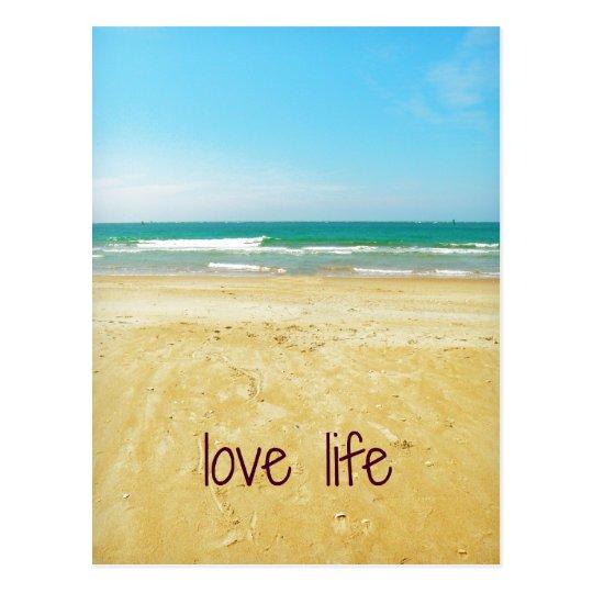 Love Life Quote with Beach Scene Postcard