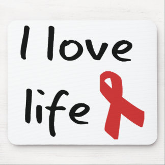 Love Life! Red ribbon awareness! Mouse Pad