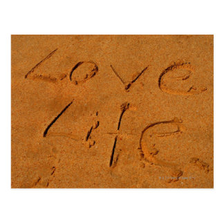 'Love Life' written in Sand Postcard