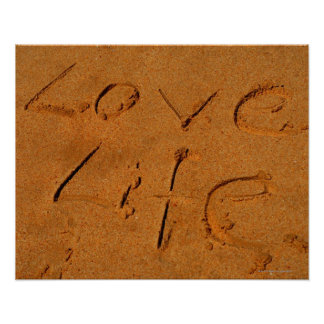 'Love Life' written in Sand Poster